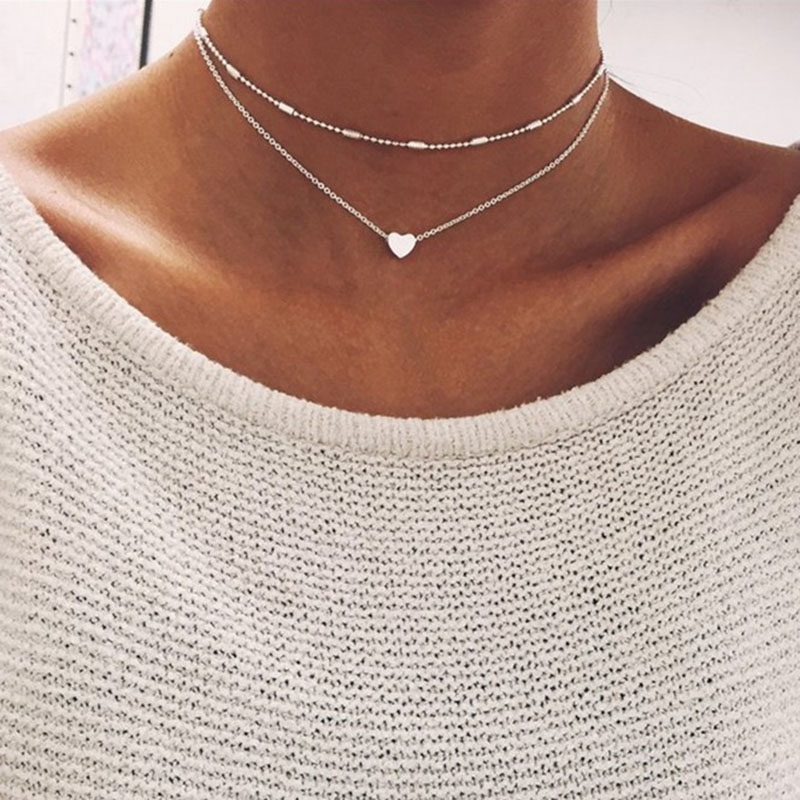 Fashion peach heart beads necklace women trinket silver gold chain choker jewelery pendant neckless woman layered necklaces J40(China)