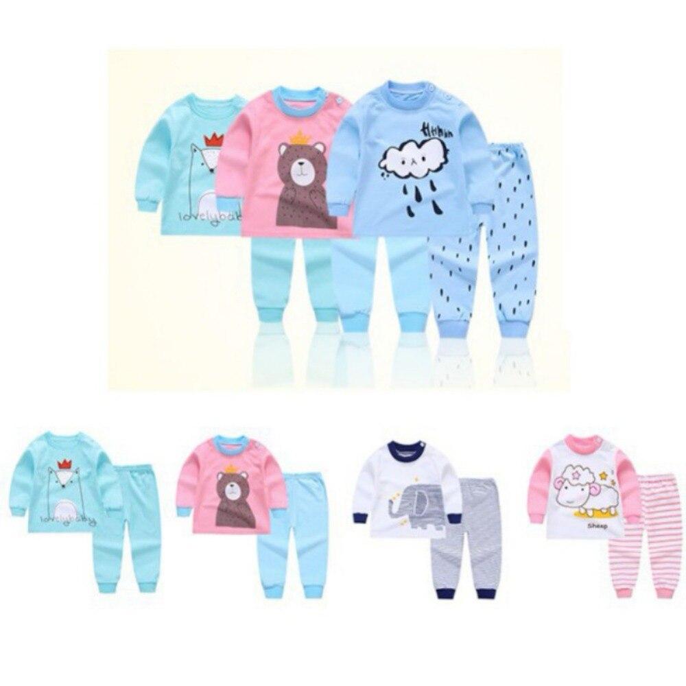 Toddler Sheep Print Warm Tops Pants Set Sleepwear for 0-4 Years Old Baby Boys Girls Pyjamas Set Two Pieces