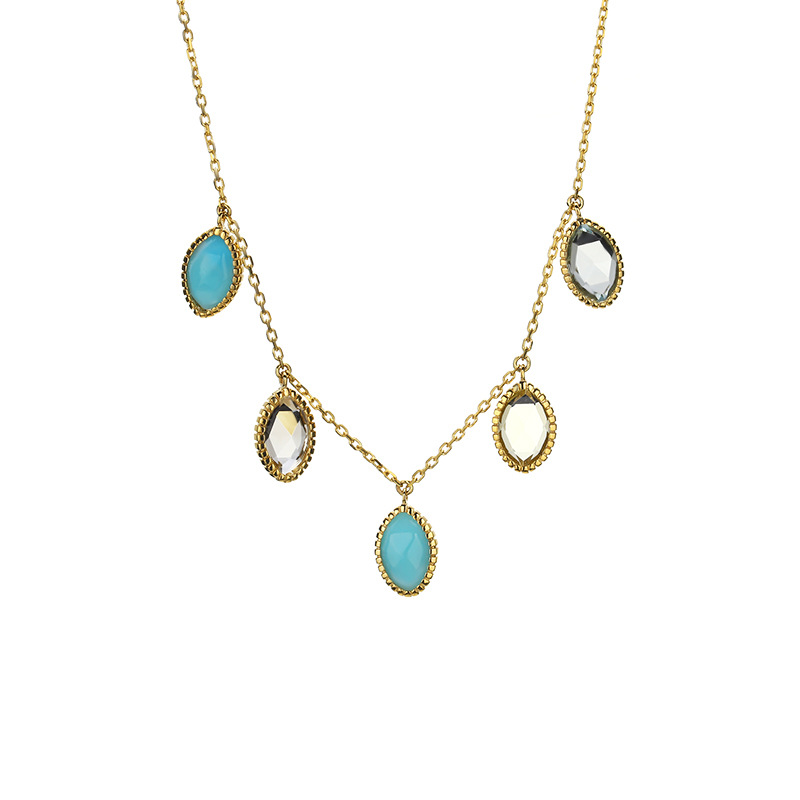Classic 9K Pure Real Yellow Gold Agate Turquoise Charm Necklace for Women Girl Fancy Solid Clavicular Fine Jewelry Gift PartyClassic 9K Pure Real Yellow Gold Agate Turquoise Charm Necklace for Women Girl Fancy Solid Clavicular Fine Jewelry Gift Party