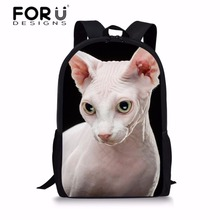 FORUDESIGNS Girls School Backpacks Hairless Cat Printing Bags for Children Fashion Shoulder Daypack Students Schoolbag