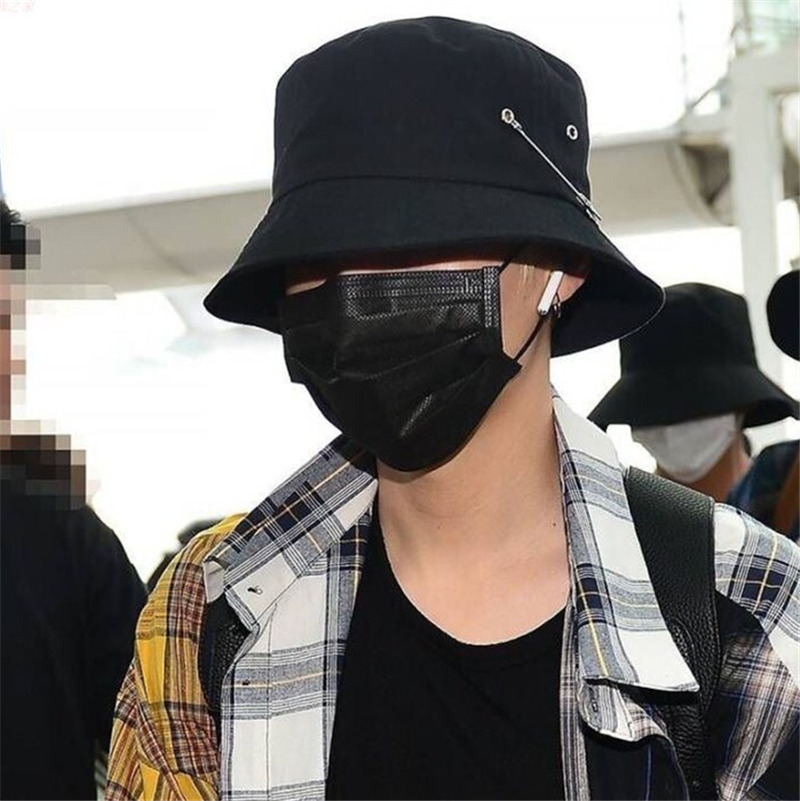 Hot selling 2018 BTS Fashion K POP Iron hole with PIN Bucket Hats popular  style cap 100% handmade rings f82fb3d08188