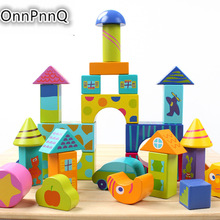 50pcs Kids wooden Colorful blocks building blocks educational early learning Gift