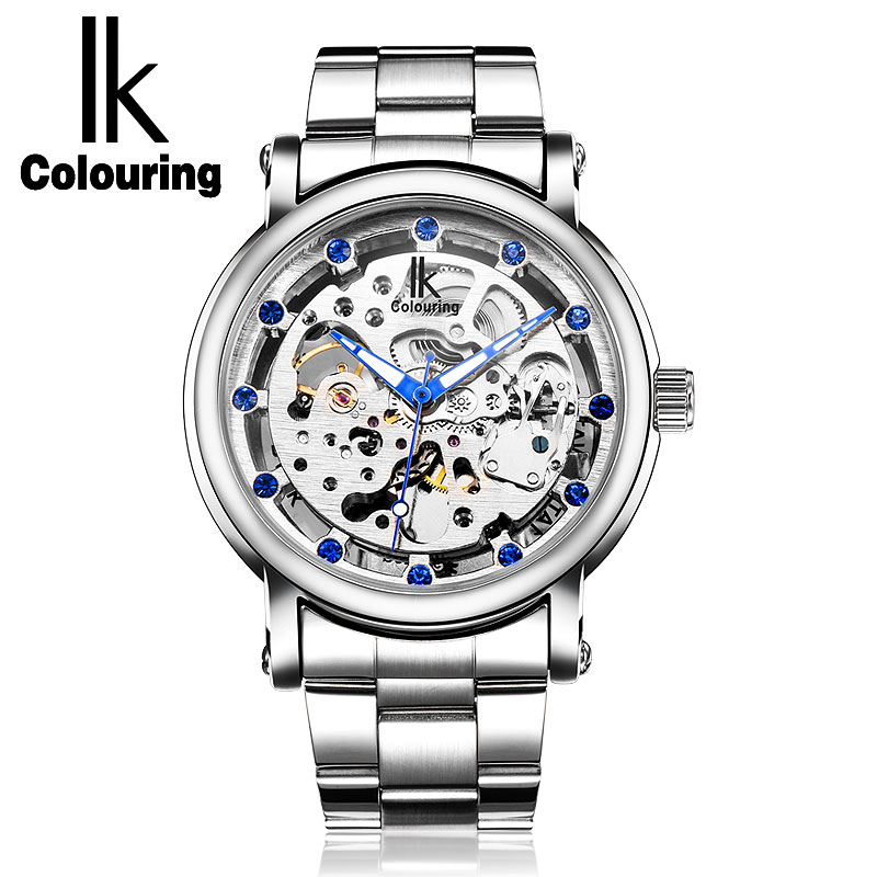 Men's Skeleton Watches Automatic Self Wind Silver Dial