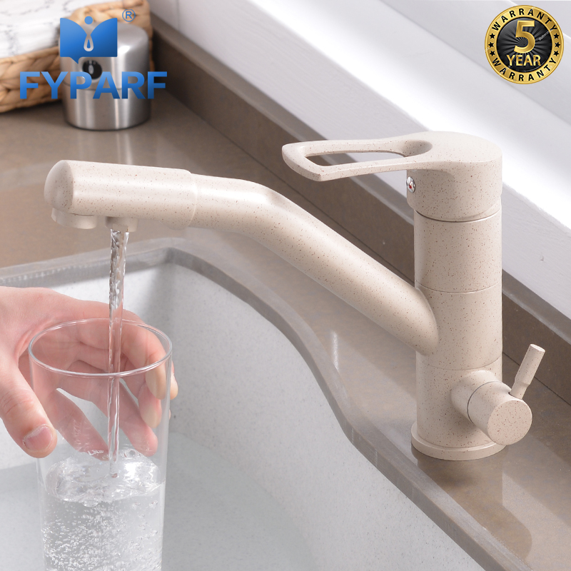 FYPARF 100% Brass Marble Painting Swivel Drinking Water Faucet 3 Way Water Filter Purifier Kitchen Faucets For Sinks Taps K210K image