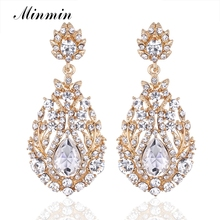 Minmin Luxury Long Earrings for Women Bohemia Style Gold-color Dangle Earrings with Crystal Free Shipping Brincos MEH729-gold