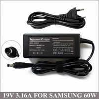 19 V 3.16A 60 W adaptador de CA envío gratis para Notebook Samsung AD-6019 X05 X10 P30 P35 R19 R45 BA44-00242A AD-6019R BA44-00242A