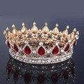 Огромные Старинные Свадебные Аксессуары Для Волос Горный Хрусталь Король Королева Люкс Полный Круглый Круг Театрализованное Тиара Кристалл Пром Royal Crown