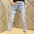 Lace Beading Hole Jeans Female 2015 Women'S Harem Ripped Pants Female Lace Jeans Women
