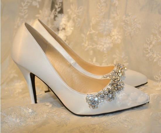 цены Handmade Satin Pointed Toe Pumps High Heel Wedding Shoe White Rhinestone Bridal Dress Shoes Spring Wedding Shoes Plus Size