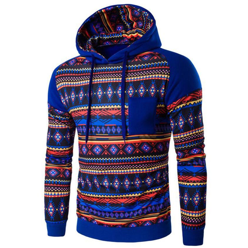 New Designed Print Men Bohemia Retro Long Sleeve Hoodie Hooded Sweatshirt Tops Jacket Coat Outwear clothes winter 2016