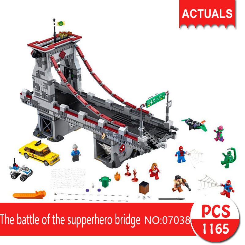 Lepin 07038 1165Pcs Super heroes Series  The battle of the supperhero bridge  Building Blocks   Bricks Toys For Children super heroes angel spike willow corderlia buffy the vampire slayer series building blocks collection toys for children kf6018