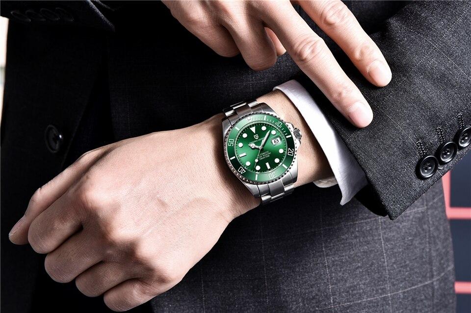 aço inoxidável relógios mecânicos do exército homem