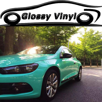 1.52x30 Meters Tiffany Blue Glossy Vinyl Film Bright Glossy Car Warp Sticker With Bubble Free