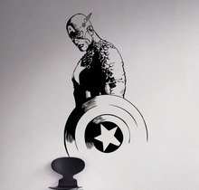 Free shipping  Removable Movie Captain America Vinyl Decal Superhero Wall Sticker Decals Mural Wallpaper