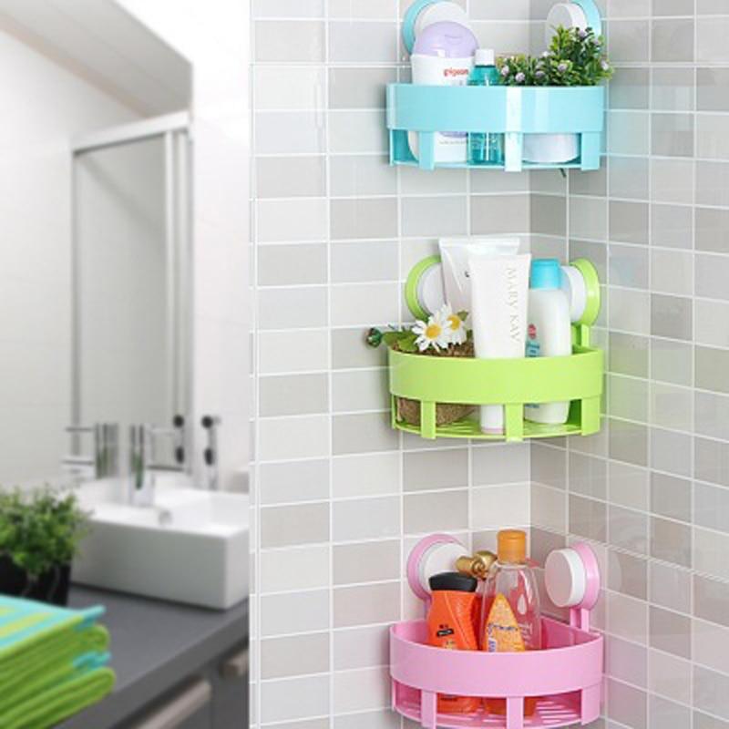 1 pc kreativ badeværelse hjørne opbevaring rack organizer brusebad væg hylde med dobbelt stærk vakuum sugekop gratis forsendelse
