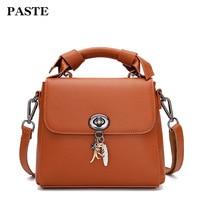 2018 Genuine Leather Women Shoulder Bag Simple Elegant Leather Crossbody Bags Small Ladies Handbag Lock Mini