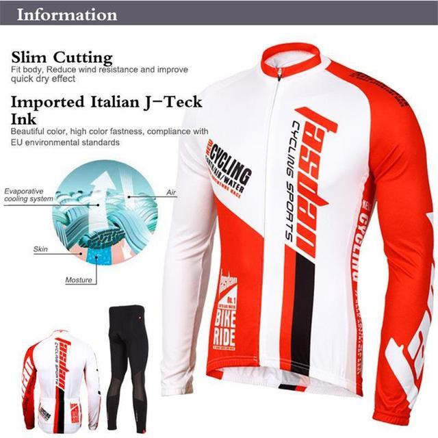 Tasdan Professional Bike Jersey Set Long Sleeve Top Shirt Men Sport Suit Set Padded Pants for Racing