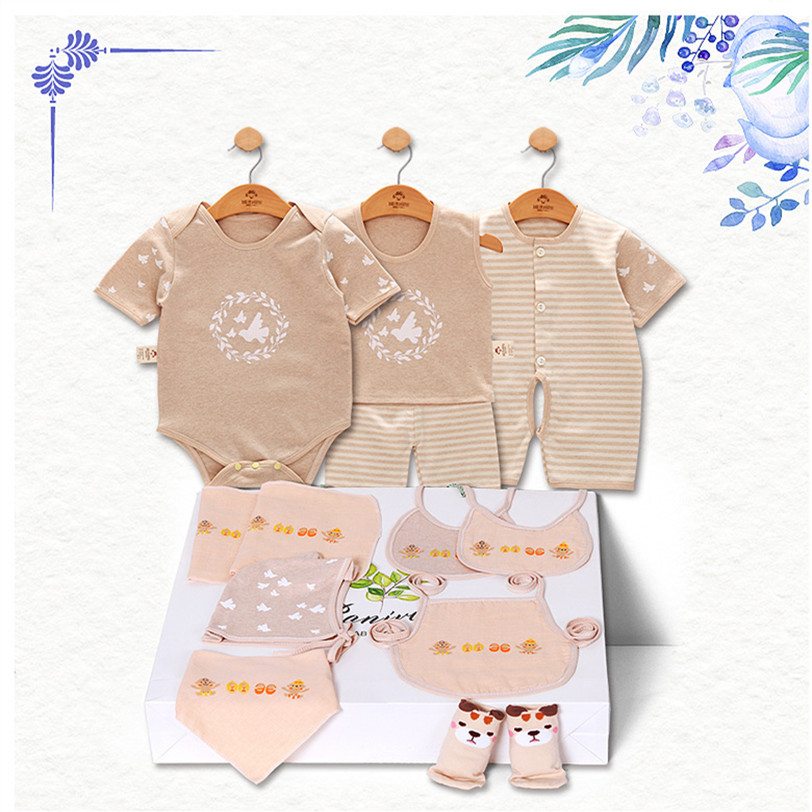 100% Natural Cotton Summer Fashion Baby Short Sleeve Baby Boy Clothing Cute Little Pigeon Baby Brand Girl Boy Baby Set 11Piece