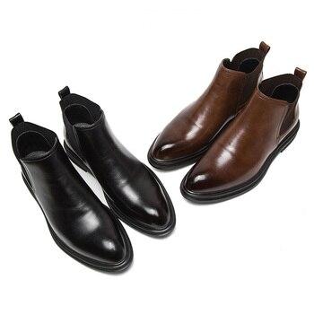 57afa0e1 Ботинки Челси, зимние Бархатные Мужские Молодежные высокие ботинки, мужские  короткие ботинки, ботинки martin