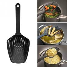 Nylon Filter Lepel Vergiet Zwart Grote Keuken Accessoires Gadget Drain Groente Water Lepel Keukengerei Koken Tool