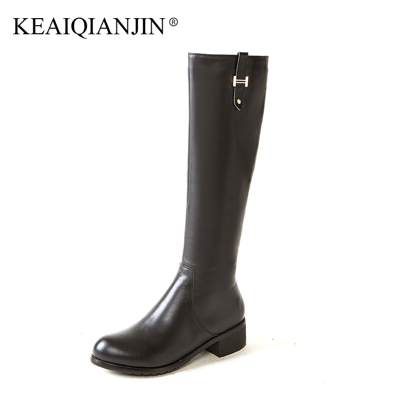 KEAIQIANJIN Woman Genuine Leather Knee High Boots Plush Plus Size 33 - 43 Black Winter Shoes Metal Decoration Knee High Boots keaiqianjin woman patent leather pumps plus size 33 43 high shoes spring autumn metal decoration black genuine leather pumps