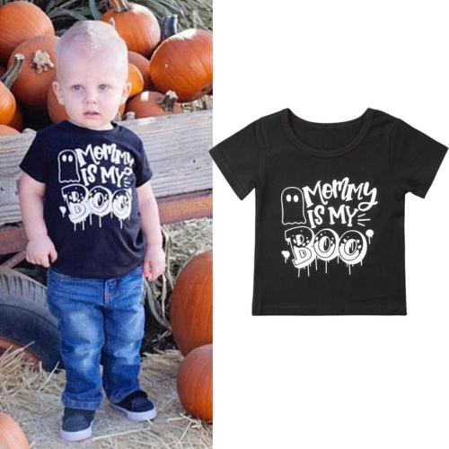 Halloween T-Shirt Tops Cool Boys High-Quality Short-Sleeve Print Toddler Cotton Letter