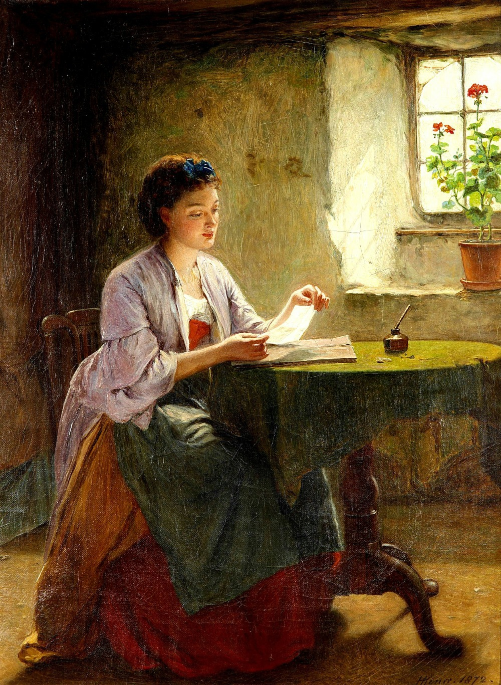 English Genre Painter Haynes King, Love Letter Classical Oil ...