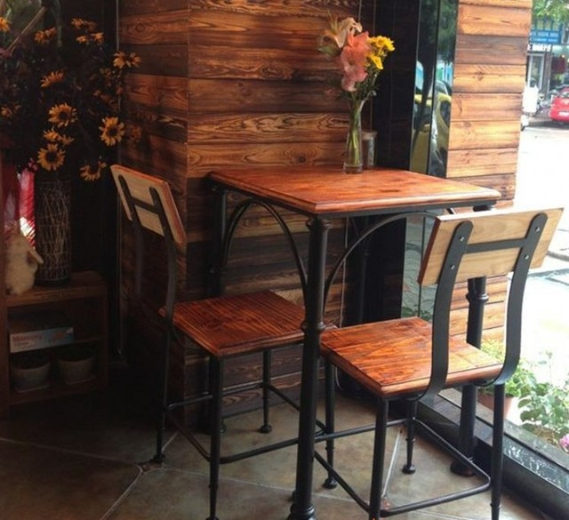 Cafe Tables And Chairs Combination Of Milk Dessert Table Two Retro Casual Dining Furniture Wrought Iron Wood