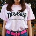 2016 thrasher t shirts men Skateboards hip hop street fashion Cotton summer Casual Black pink  women streetwear trasher shirts