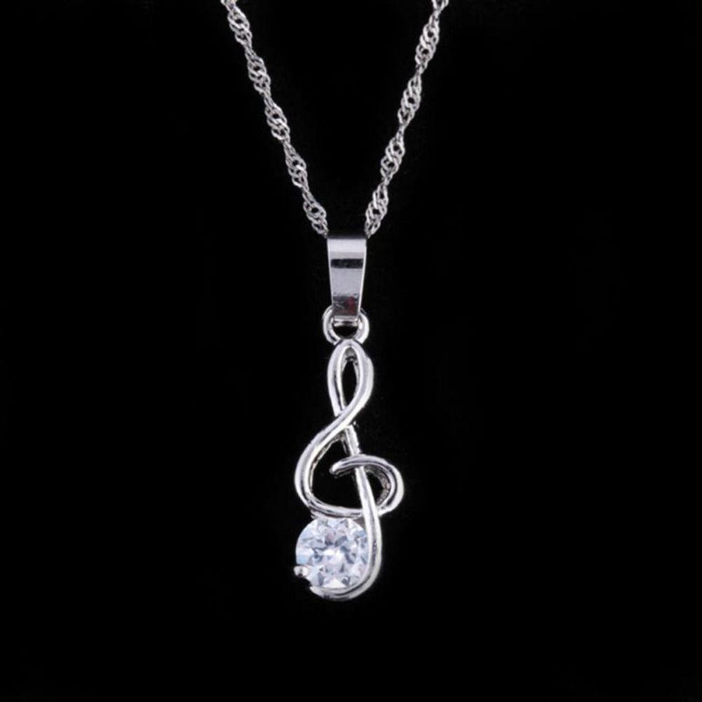 Womens Silver plated Music Note Charms Pendant Necklace