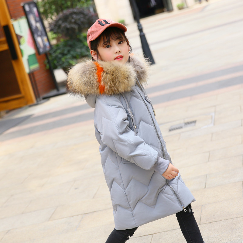 2018 Winter Children Jackets Girls Coats Kids Warm Thick Raccoon Fur Collar Hooded Long Duck Down Outerwears Teenage 6-14Y P200 недорого