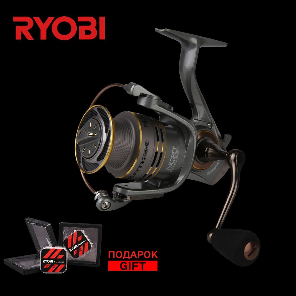 цена на RYOBI SLAM 1000/2000/3000/4000 Carbon Lightweight Wheel Freshwater Stronger Smooth Cast Titanium Concept Carp Spinning Reels