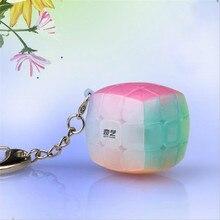 QiYi желе цвет мини брелок булочка куб 3x3x3 кулон цепь брелок волшебный куб скорость куб пазл игрушки для детей начинающих