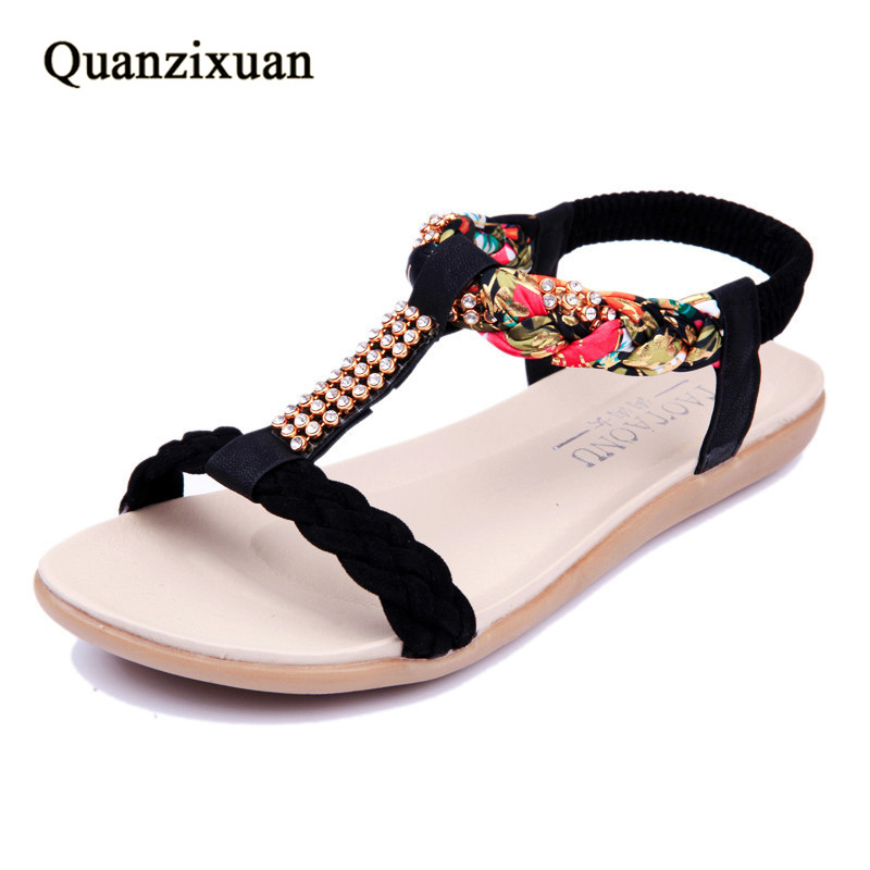 Summer Women Sandals Open Toe Casual Flats Females Shoes Platform Beach Sandals Flowers Shoes Women mudibear women sandals pu leather flat sandals low wedges summer shoes women open toe platform sandals women casual shoes