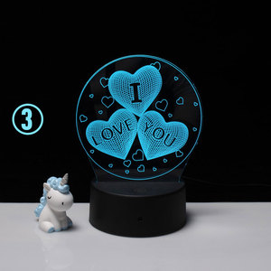 LED 3D Night lamp remote decorate desk light battery dream flower love heart creative Wedding marry Valentine's Day gift
