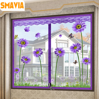 SMAVIA Pretty Summer Anti Mosquito Window Screen Polyester Fiber Encryption Mosquito Net With The Zipper Design