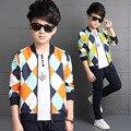 2016 Children's Clothing Boy Autumn Boy Spell Color Diamond Suit Jacket + Pants Children Clothes Set Fashion Piece Zipper