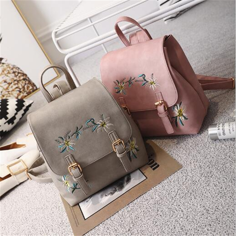 Dida Bear Brand Women Leather Backpacks Female School Bags For Girls Rucksack Small Floral Embroidery Flowers Bagpack Mochila #6