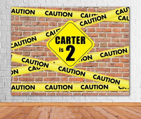 Custom Construction Caution Boys Brick Wall photo studio background High quality Computer print party backdrop
