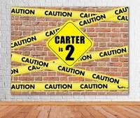 Custom Construction Caution Boys Brick Wall photo studio background High quality Computer print party backdrop