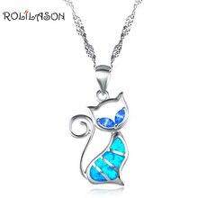 И розничная дизайнеры кошка синий огненный опал Мода серебряные украшения штампованные Цепочки и ожерелья подвеска подарки для леди OP448