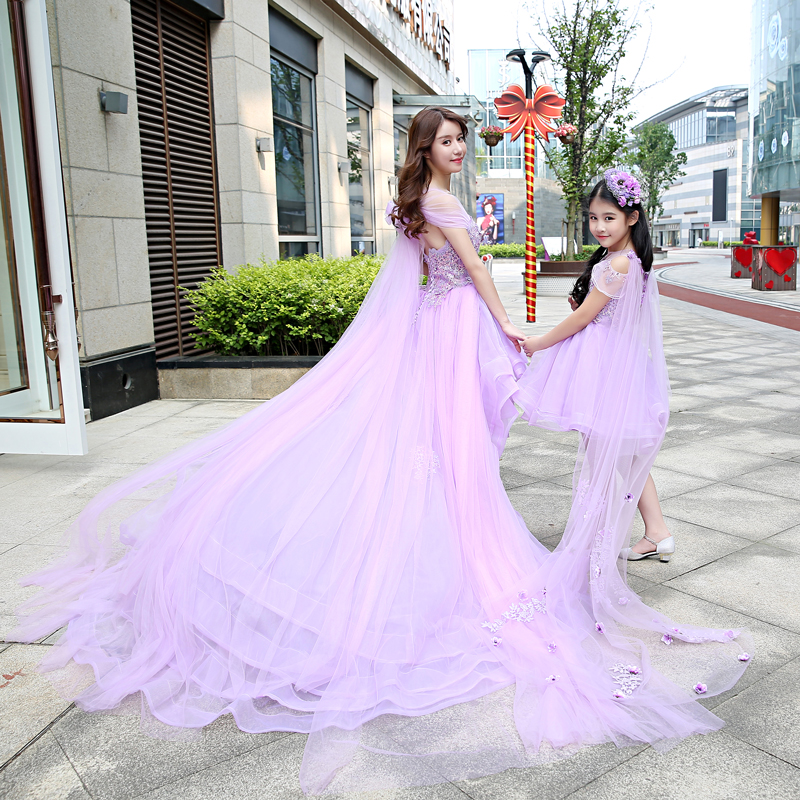 Filha da mãe vestido de Noiva Meninas vestido de Baile vestido de renda do Baile roxo Mommy and Me Roupas tutu saia floral Família roupas combinando - 4