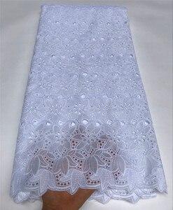 Image 3 - Tissus africains en dentelle nigériane 100% coton, voile de suisse, tissus africains pour robe de mariée, 5 yards/lot, 5816