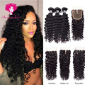 Deep Wave with Closure Mink Brazilian Hair,Ms Here Hair Company Brazilian Virgin Hair With Closure Angel Grace Hair 3 Bundles