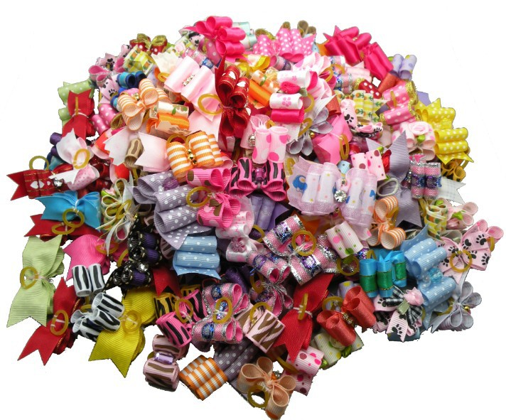 60pc lot handmade dog bows