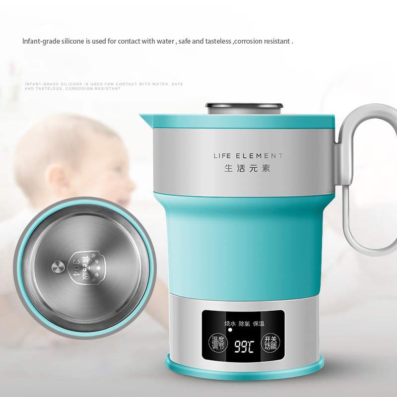 Green Electric Mini Travel Hot Water Kettle Folding Automatic Power off Outdoor Portable Scored Water Boiler Electrico With Cup in Electric Kettles from Home Appliances