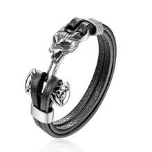 High Quality Stainless Steel Anchor Lion Shackles Leather Bracelet Men Wristband