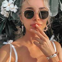 2020 Esagonale Occhiali da Sole Donne Del Progettista di Marca Piccolo Quadrato Occhiali da Sole da Uomo in Metallo Cornice di Guida Occhiali da Pesca Zonnebril Mannen
