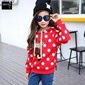 Nuevas Niñas ropa de Abrigo Niños Otoño Cálido Abrigo de Manga Larga Lindo Gran Punto Bebé Sudaderas Con Capucha de la Chaqueta de Ropa de Moda de Corea Sudaderas