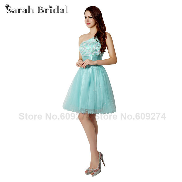 In Stock Short One Shoulder Prom Dresses 2015 Mini Pearls Party ...